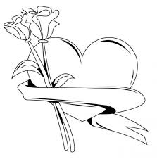 Heart With Roses Valentines Coloring Pages