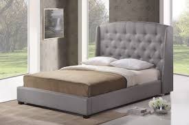 King Platform Bed With Leather Headboard by Ipswich Gray Linen Modern Platform Bed King Size Affordable