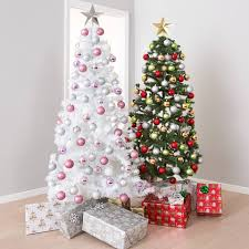 Pretty Pink And White Christmas Ornaments With Silver Star On Tree