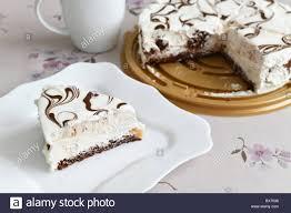 in stücke schneiden fettarmer joghurt torte mit schokolade
