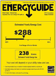 Current EnergyGuide Label For Water Heaters A Color Version Of This Fi Gure Is Available