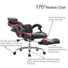 Reclining Gaming Chair With Footrest by Viva Office Fashionable High Back Bonded Leather Racing Style