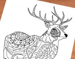 Printable Adult Coloring Page Mandala Red Stag