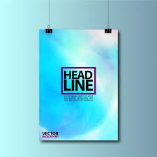Blue Hanging Poster Background Design Free Vector