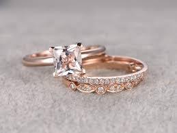 6 5mm Princess Cut Morganite Wedding Set Diamond Bridal Ring 14k