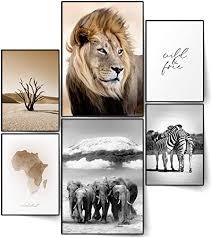 blckart infinity poster set afrika stilvolle doppelseitige poster safari löwe elefant zebra wohnzimmer bilder deko 2x a3 4x a4 afrika ohne