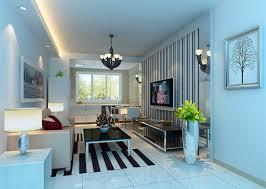 light blue living room interior lighting design rendering
