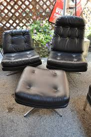 Mid Century Modern Black Leather Selig Swivel Lounge Chairs With Ottoman