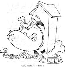 Vector Of A Cartoon Aggressive Bulldog In His Dog House