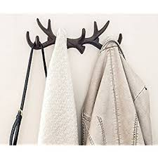 Deer Antler Curtain Holders by Amazon Com Vintage Cast Iron Deer Antlers Wall Hooks By Comfify