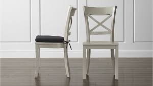 vintner dove wood dining chair and black cushion crate and barrel