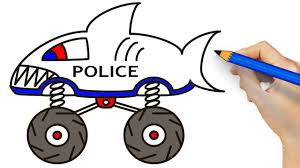 Shark Police Car - Shark Police Monster Truck Coloring And Drawing ...