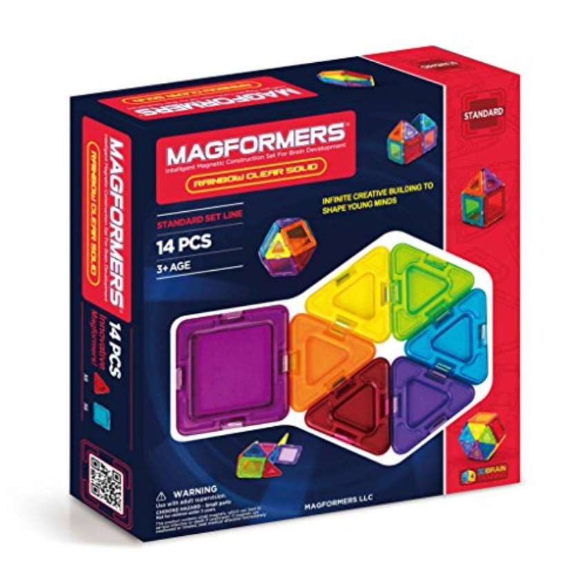 Magformers Rainbow Clear Solid Set - 14 Pieces