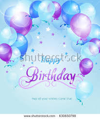 "Blue purple birthday background with birthday balloons and text ""happy birthday"""