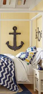Nautical Pastel Yellow And Navy Blue Room With Dark Wood Accessories Blues Cream Colors