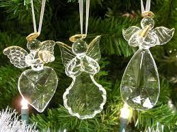 Amazon Com Banberry Designs Angel Ornaments Set Of 3 Glass Angels Christmas Decor