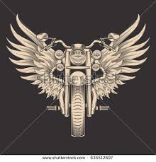 Vector Monochrome Illustration Of Motorcycle With Wings Design Element For The Advertising Poster Sketch