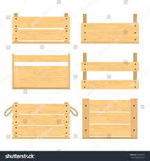 Vector Illustration Of Different Wooden Crates Flat Style Fruit And Vegetable Drawer Front View