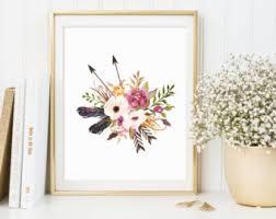 Floral Wall Art Print Printable Nursery Decor Shabby Chic