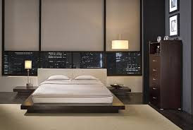 Masculine Bedroom Design Wooden Framed Bed Green Curtain White