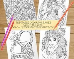 Fairy Tale Coloring Sheets Digital Download