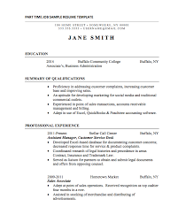 Manager Part Resume Category Samples