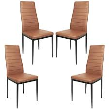 jeobest esszimmerstühle 4stk hochlehner esszimmer kunstleder leder polster stuhl braun