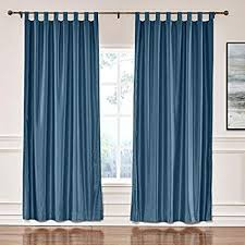 Cololeaf Faux Silk Satin Blackout Curtains Luxury Dupioni Thermal Insulated Tab Top Drapes For Living Room