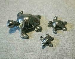 3 schildkröten silber deko badezimmer schildkrötenfamilie chrom