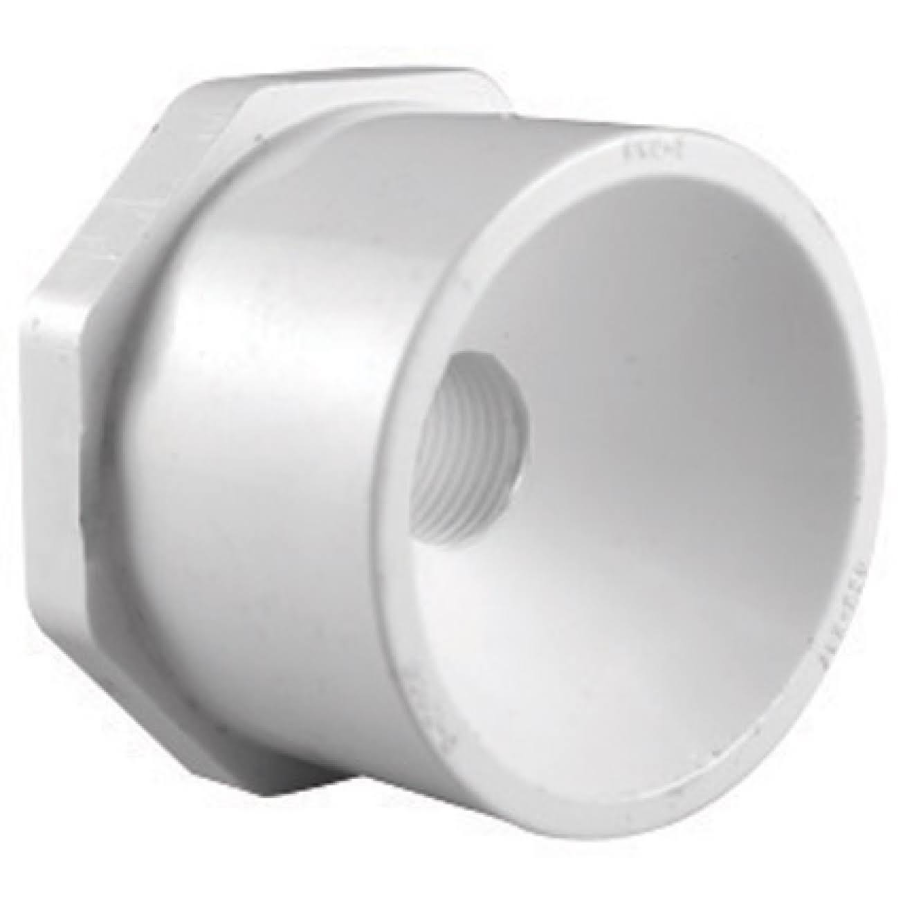 "Charlotte PVC Schedule 40 Reducer Bushing - White, 1-1/4"" x 1"""