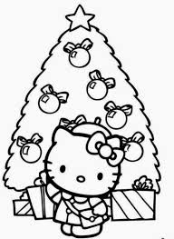 Hello Kitty Coloring Pages Christmas Page Cute Pictures Medium Size