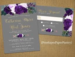 Elegant Rustic Fall Wedding InvitationPurpleGrayTealRosesFloral Arrow