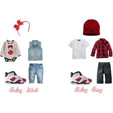 Ba Girl And Boy Jordans Outfit Red Twins Polyvore Jordan Toddler Outfits