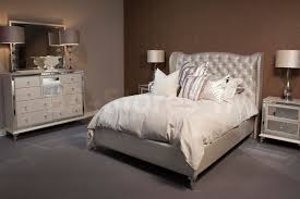 Hollywood Loft Frost Upholstered Nightstand by Michael Amini