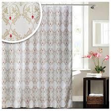 lashuma textil duschvorhang weiß beige damask badevorhang mit barock muster wannenvorhang mit ringen 180 x 180 cm