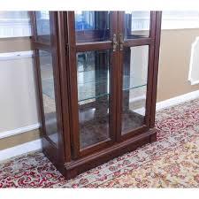 ethan allen medallion collection cherry glass curio display
