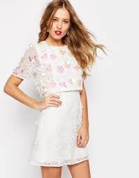 image 1 of asos salon 3d floral lace embroidered crop top mini