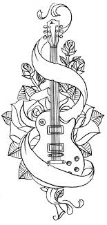 Adult Coloring Pages Books Watercolor Pencils Tattoo Book Masculine Tattoos Guitar Doodles Drawings