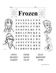 Frozen Theme Word Search For Fun Reinforcer