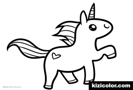 Chibi Unicorn Easy Clipart Coloring Page