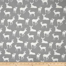 Curtain Fabric By The Yard by Premier Prints Deer Silhouette Cool Grey Discount Designer