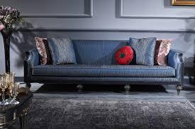casa padrino luxus barock wohnzimmer esszimmer set blau schwarz gold barockmöbel