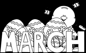 Black and White Month of March Easter Clip Art Black and White