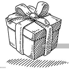 Gift Box Ribbon Drawing Vector Art