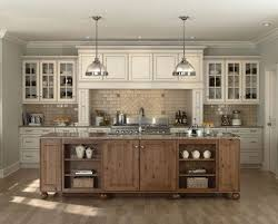 Paint Off White Kitchen Cabinets With Rustic Island And Laminate Wood Flooring Plus Pendant Lighting