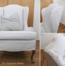 Custom Canvas Slipcover For Wingback Chair | The Slipcover Maker Sure Fit Stretch Stripe Wing Chair Slipcover Walmartcom Fniture Armless For Room With Unique Striped Wingback Beachy Blue White Surefit Sage Double Diamond Slipcovers Navy Parsons Used Moving Piqu One Piece Form Machine Washable Shop Ticking Free Indoor Chairs Covers Maytex Pixel 1 Back Arm Complete Your Collection Custom By Shelley Wingback Chair