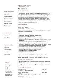 Resume Format For Teaching Job Art Teacher Example Template Sample Design Description School