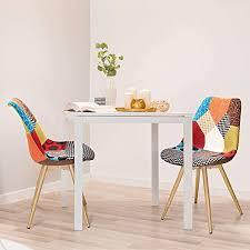 vadim 2x esszimmerstühle design patchwork retro stühle esszimmer 2er set metallbeine polsterstuhl wohnzimmer mehrfarbig stühle stoff leinen