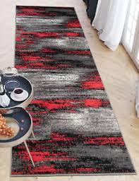 details zu läufer grau rot modern teppich meterware für küche wohnzimmer flur teppichläufer