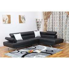 Walmart Sectional Sofa Black by Sofia 2 Pc Black Faux Leather Modern Living Room Right Facing